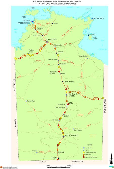 Australia Map Nt.Australia Road Maps Queensland Rest Areas