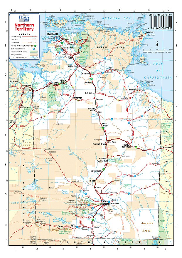 australia road maps northern territory