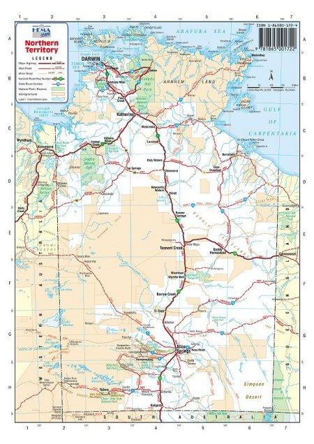 Map Northern Australia.Australia Road Maps Northern Territory