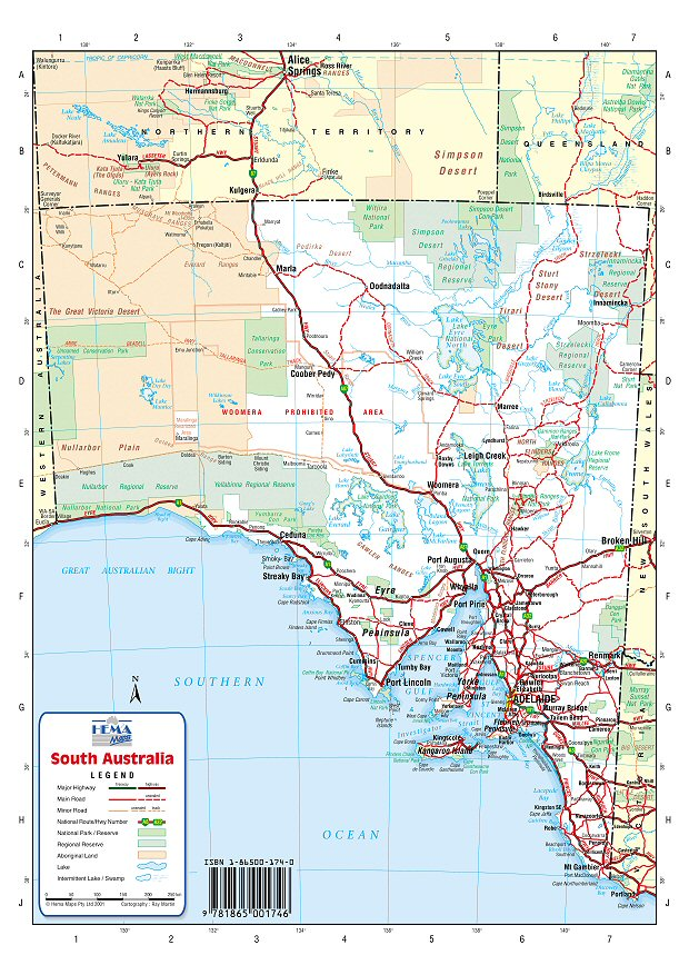 Australia Road Maps South Australia