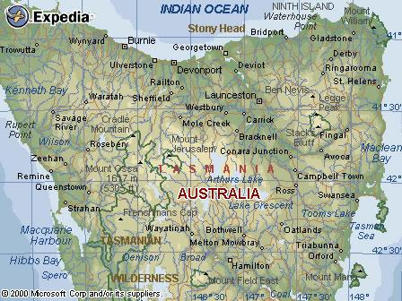Austra Tasmania West Coast Region Map