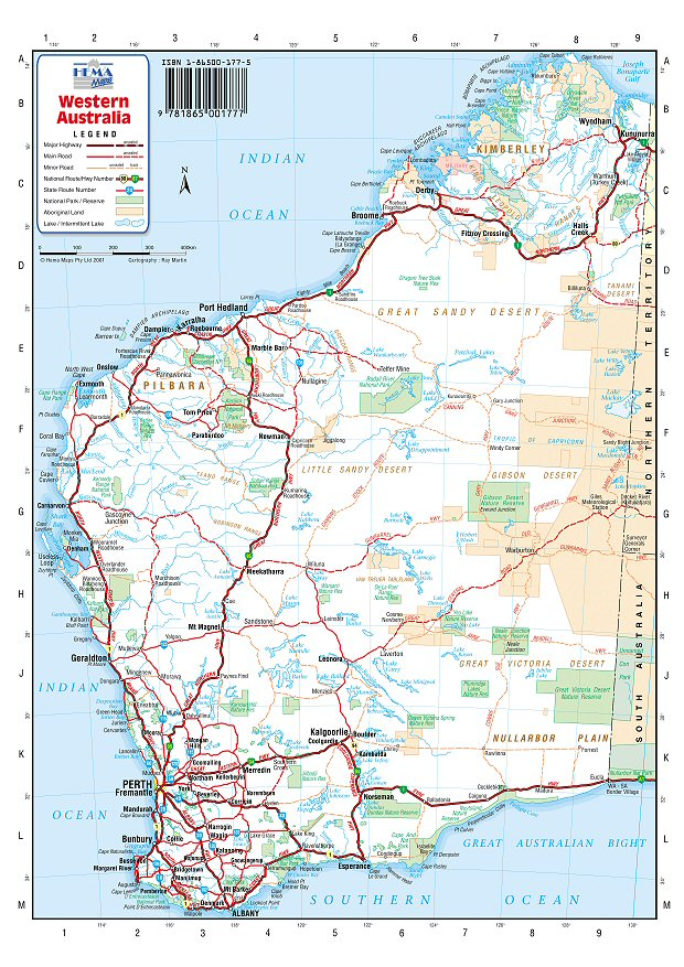 Australia Road Maps West Australia - Map of western australia with towns