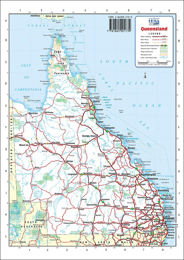 Qld Road Map Australia Road Maps   Queensland Qld Road Map